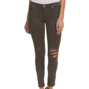 SEVEN FOR ALL MANKING Coated Deep Grey Ripped Jean